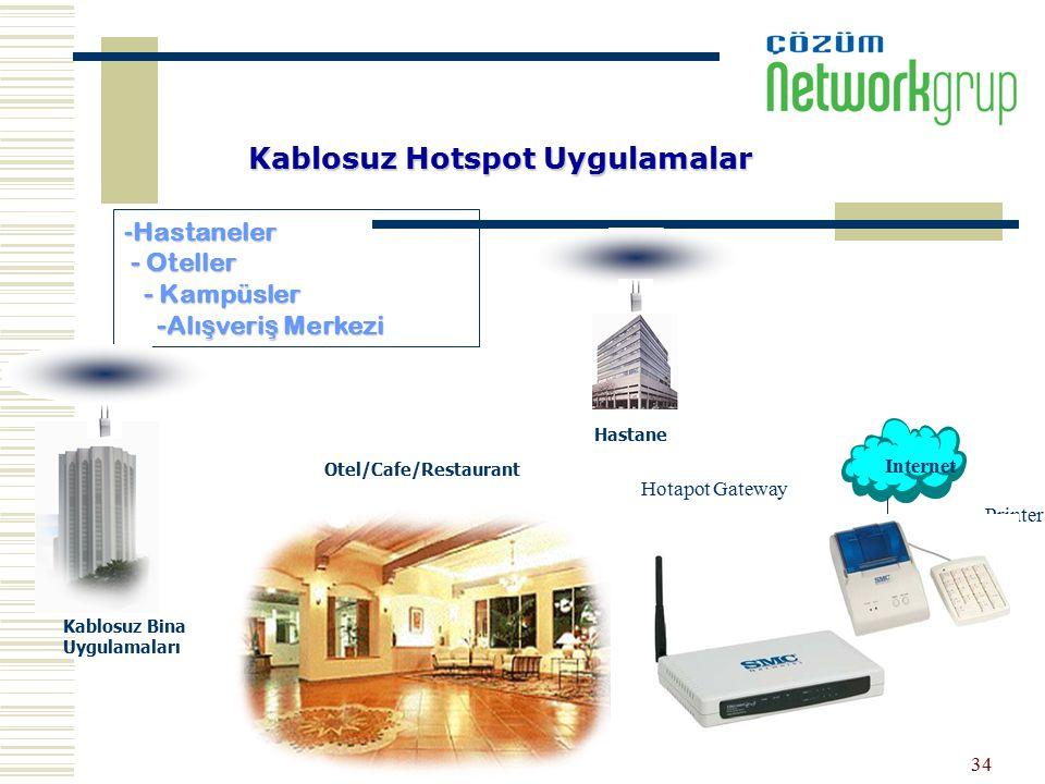 34 Kablosuz Hotspot Uygulamalar -Hastaneler - Oteller - Kampüsler -Alı ş veri ş Merkezi Hastane Otel/Cafe/Restaurant Internet Kablosuz Bina Uygulamala