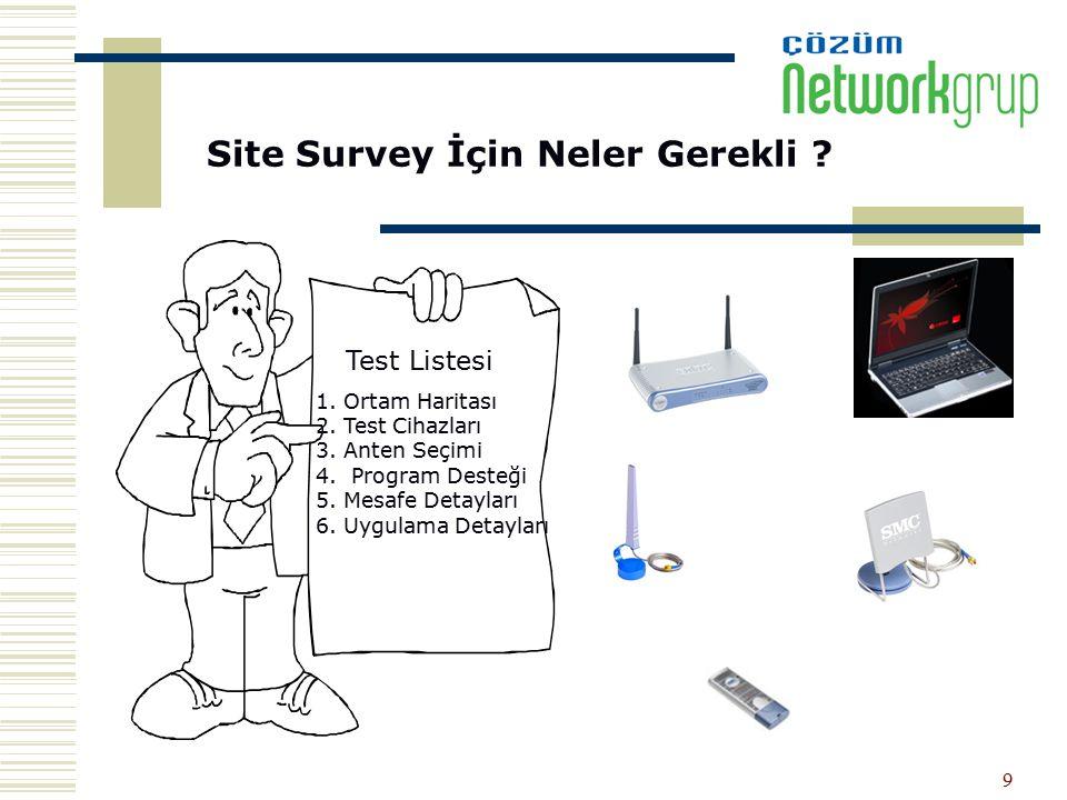 9 Site Survey İçin Neler Gerekli ? Test Listesi 1. Ortam Haritası 2. Test Cihazları 3. Anten Seçimi 4. Program Desteği 5. Mesafe Detayları 6. Uygulama