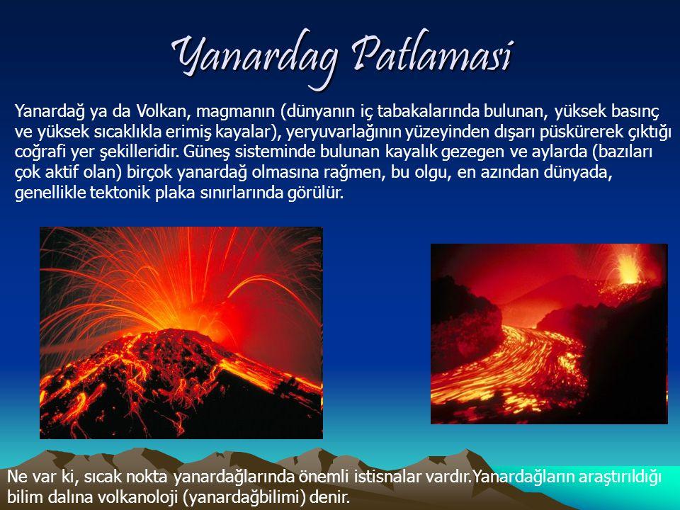 Yanardag Patlamasi Yanardağ ya da Volkan, magmanın (dünyanın iç tabakalarında bulunan, yüksek basınç ve yüksek sıcaklıkla erimiş kayalar), yeryuvarlağının yüzeyinden dışarı püskürerek çıktığı coğrafi yer şekilleridir.