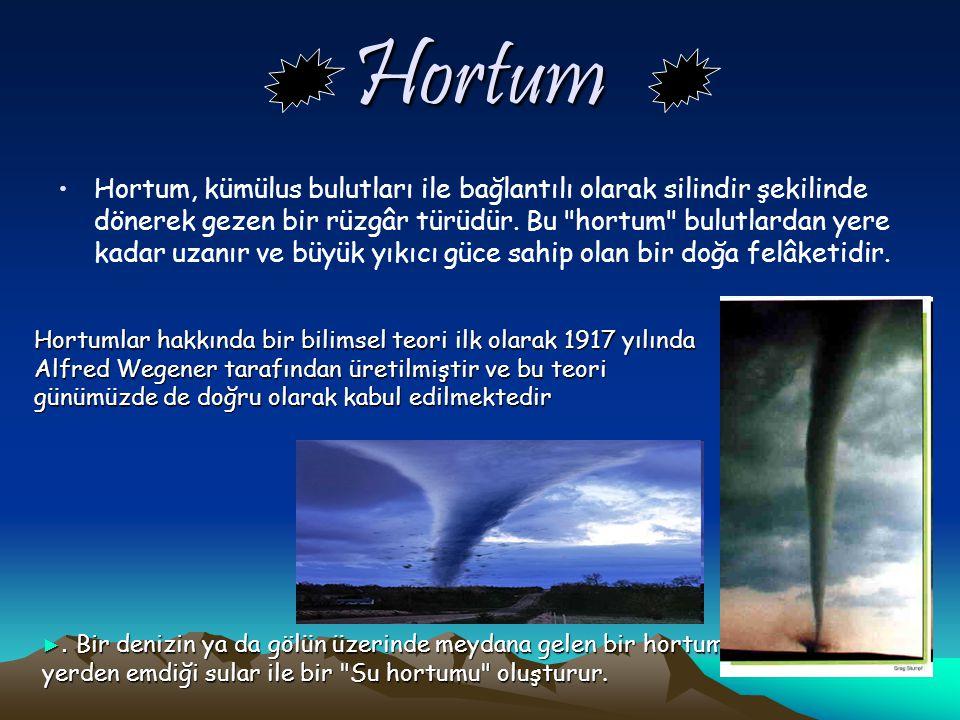 Hortum Hortum, kümülus bulutları ile bağlantılı olarak silindir şekilinde dönerek gezen bir rüzgâr türüdür.