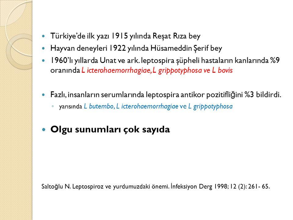 Türkiye'de ilk yazı 1915 yılında Reşat Rıza bey Hayvan deneyleri 1922 yılında Hüsameddin Şerif bey 1960'lı yıllarda Unat ve ark. leptospira şüpheli ha