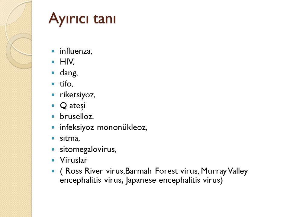 Ayırıcı tanı influenza, HIV, dang, tifo, riketsiyoz, Q ateşi bruselloz, infeksiyoz mononükleoz, sıtma, sitomegalovirus, Viruslar ( Ross River virus,Ba
