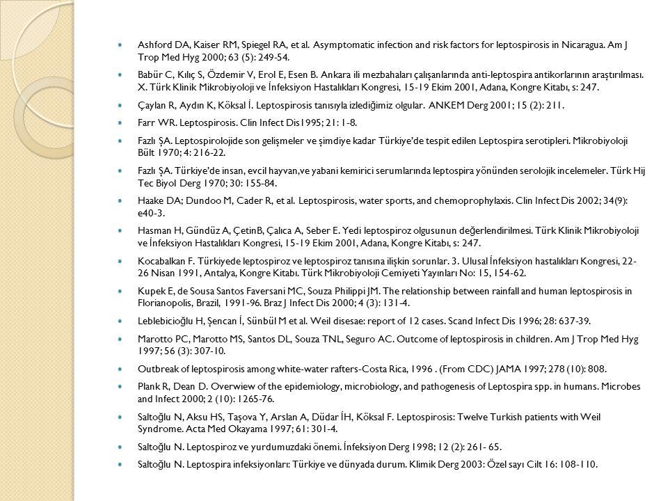 Ashford DA, Kaiser RM, Spiegel RA, et al. Asymptomatic infection and risk factors for leptospirosis in Nicaragua. Am J Trop Med Hyg 2000; 63 (5): 249-