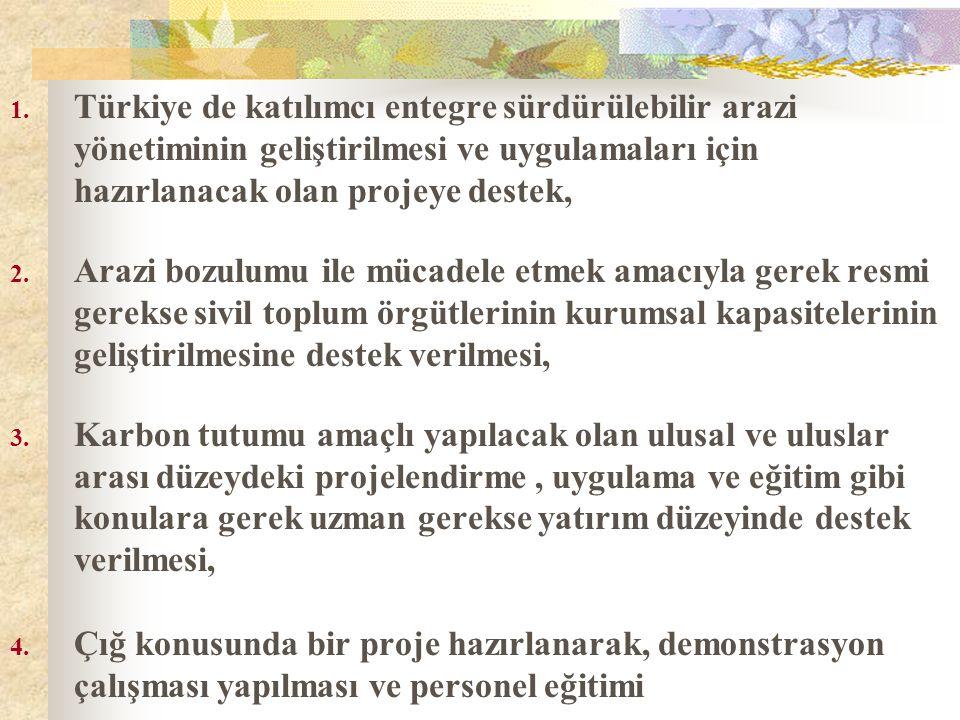 1. Türkiye de katılımcı entegre sürdürülebilir arazi yönetiminin geliştirilmesi ve uygulamaları için hazırlanacak olan projeye destek, 2. Arazi bozulu