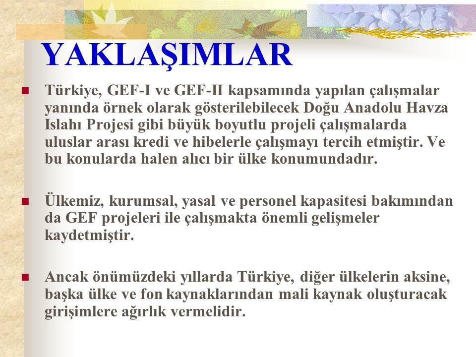 YAKLAŞIMLAR Türkiye, GEF-I ve GEF-II kapsamında yapılan çalışmalar yanında örnek olarak gösterilebilecek Doğu Anadolu Havza Islahı Projesi gibi büyük boyutlu projeli çalışmalarda uluslar arası kredi ve hibelerle çalışmayı tercih etmiştir.