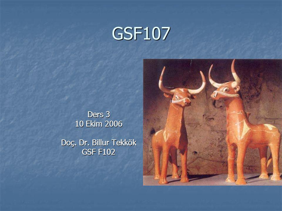 GSF107 Ders 3 10 Ekim 2006 Doç. Dr. Billur Tekkök GSF F102