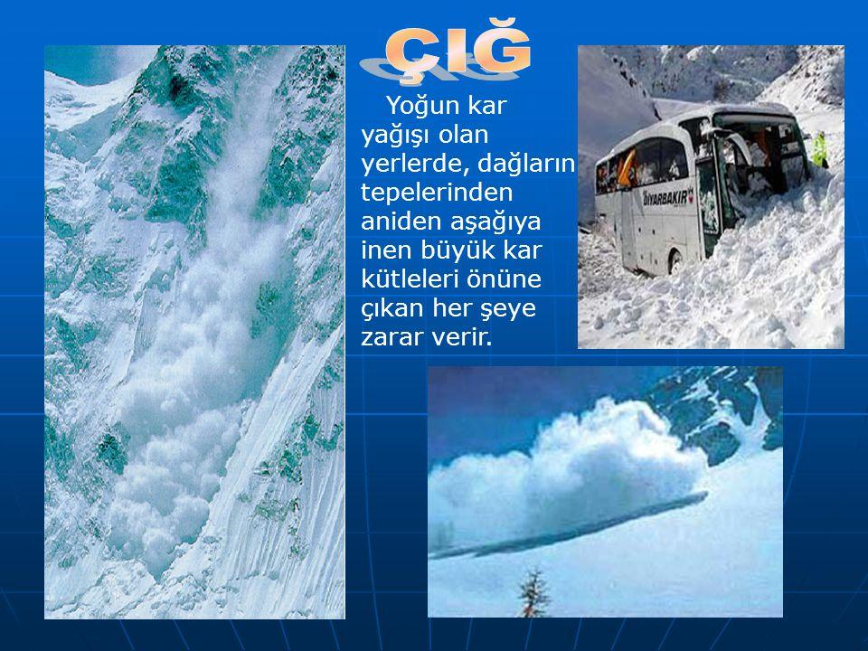 Yoğun kar yağışı olan yerlerde, dağların tepelerinden aniden aşağıya inen büyük kar kütleleri önüne çıkan her şeye zarar verir.