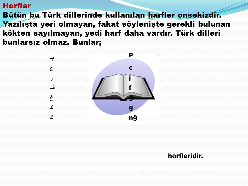 Harfler Bütün bu Türk dillerinde kullanılan harfler onsekizdir. Yazılışta yeri olmayan, fakat söylenişte gerekli bulunan kökten sayılmayan, yedi harf