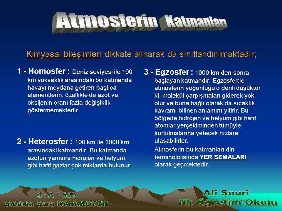 1 - Homosfer : Deniz seviyesi ile 100 km yükseklik arasındaki bu katmanda havayı meydana getiren başlıca elementlerin, özellikle de azot ve oksijenin