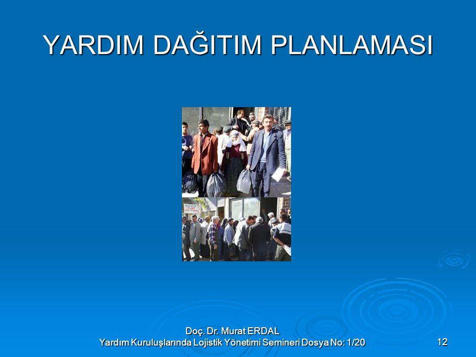 Doç. Dr. Murat ERDAL Yardım Kuruluşlarında Lojistik Yönetimi Semineri Dosya No: 1/2012 YARDIM DAĞITIM PLANLAMASI