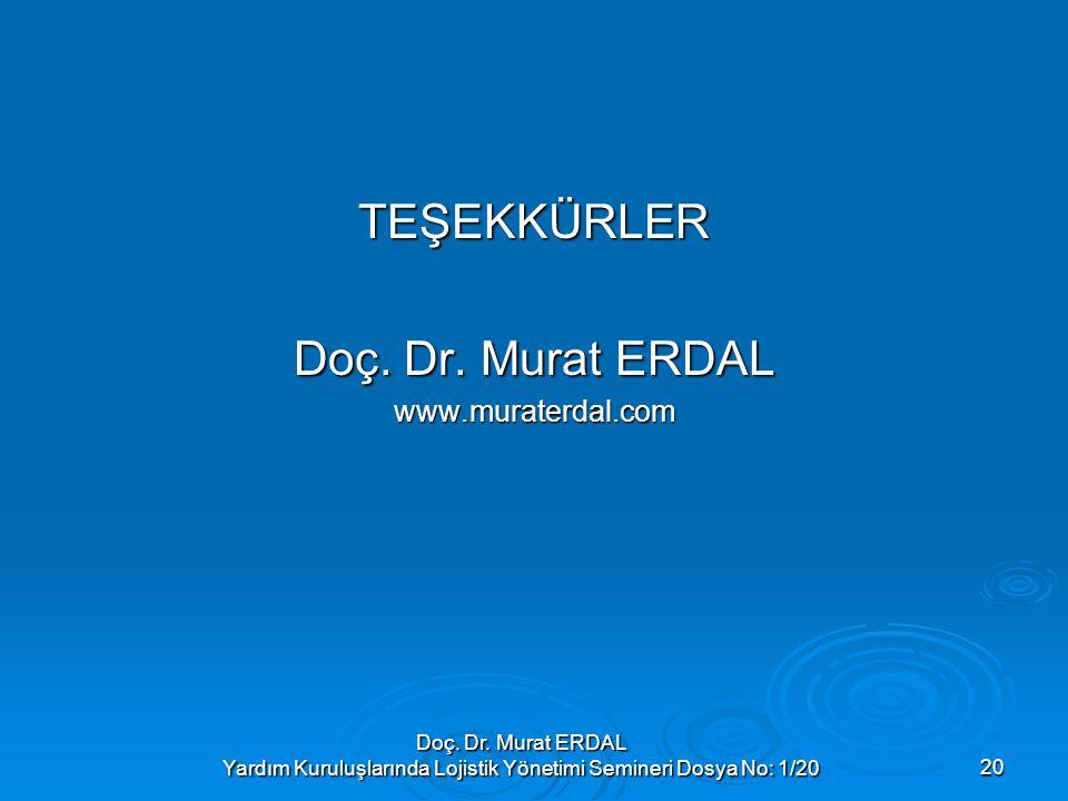 Doç. Dr. Murat ERDAL Yardım Kuruluşlarında Lojistik Yönetimi Semineri Dosya No: 1/2020 TEŞEKKÜRLER Doç. Dr. Murat ERDAL www.muraterdal.com