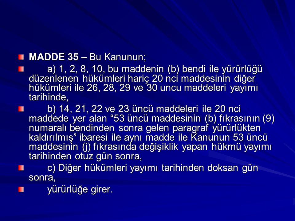MADDE 35 – Bu Kanunun; a) 1, 2, 8, 10, bu maddenin (b) bendi ile yürürlüğü düzenlenen hükümleri hariç 20 nci maddesinin diğer hükümleri ile 26, 28, 29