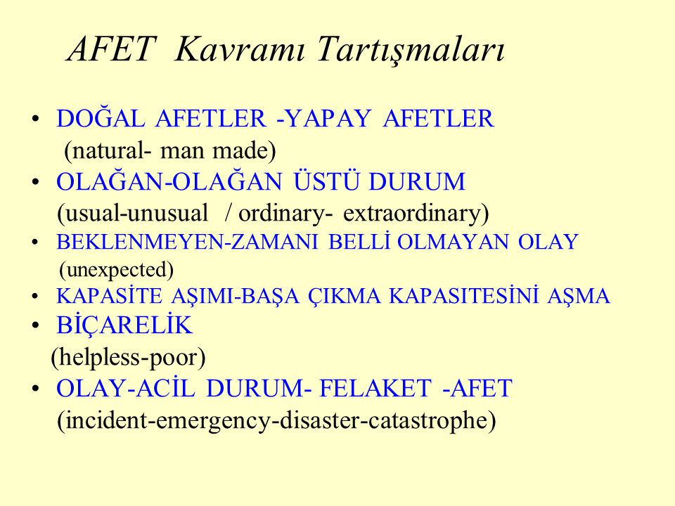 AFET Kavramı Tartışmaları DOĞAL AFETLER -YAPAY AFETLER (natural- man made) OLAĞAN-OLAĞAN ÜSTÜ DURUM (usual-unusual / ordinary- extraordinary) BEKLENME