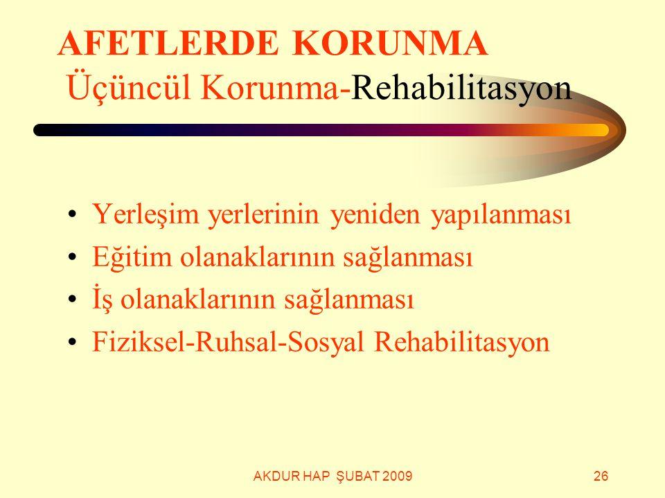 AKDUR HAP ŞUBAT 200926 AFETLERDE KORUNMA Üçüncül Korunma-Rehabilitasyon Yerleşim yerlerinin yeniden yapılanması Eğitim olanaklarının sağlanması İş ola