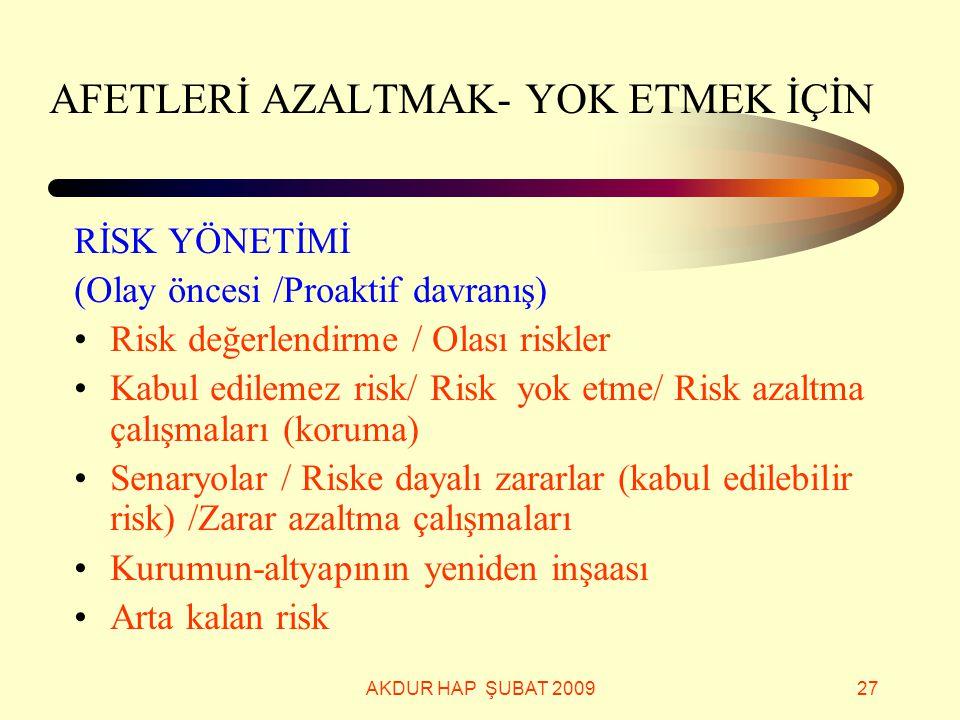 AKDUR HAP ŞUBAT 200927 AFETLERİ AZALTMAK- YOK ETMEK İÇİN RİSK YÖNETİMİ (Olay öncesi /Proaktif davranış) Risk değerlendirme / Olası riskler Kabul edile