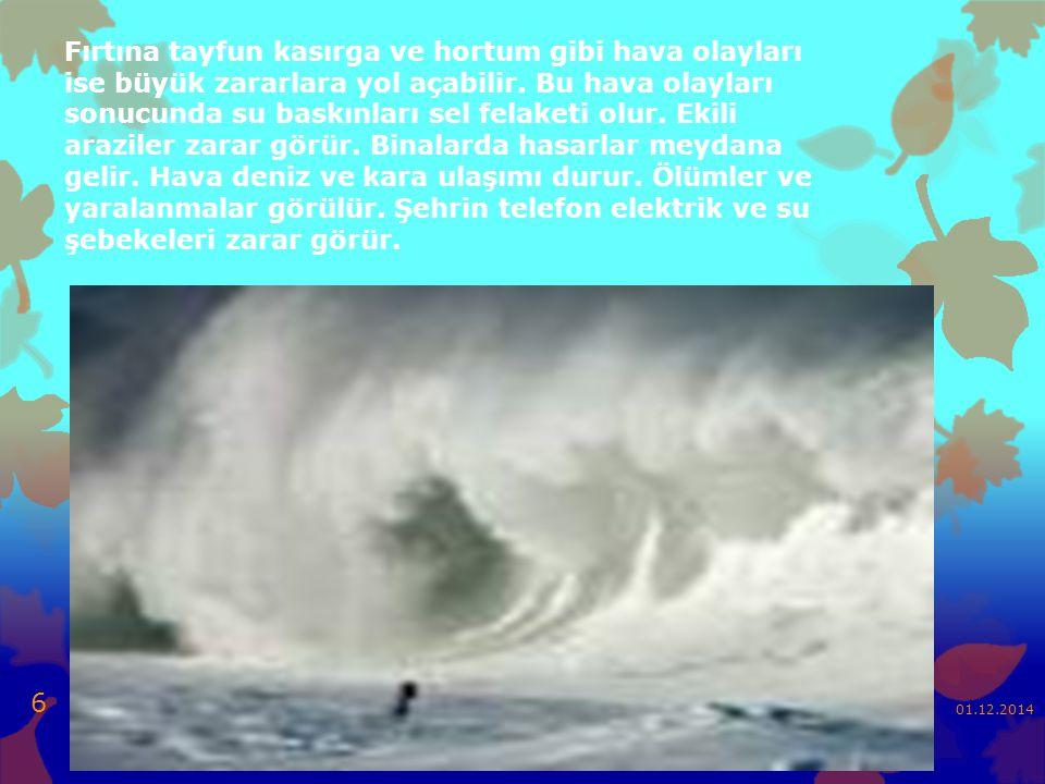 Fırtına tayfun kasırga ve hortum gibi hava olayları ise büyük zararlara yol açabilir.
