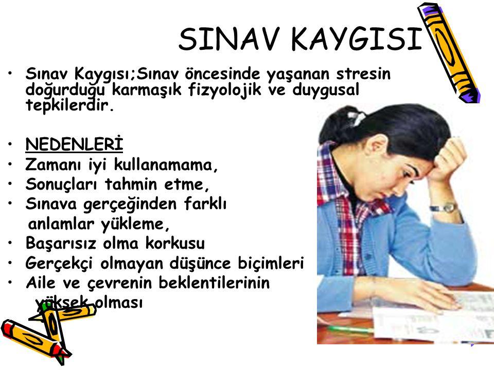 SINAV KAYGISI Sınav Kaygısı;Sınav öncesinde yaşanan stresin doğurduğu karmaşık fizyolojik ve duygusal tepkilerdir.