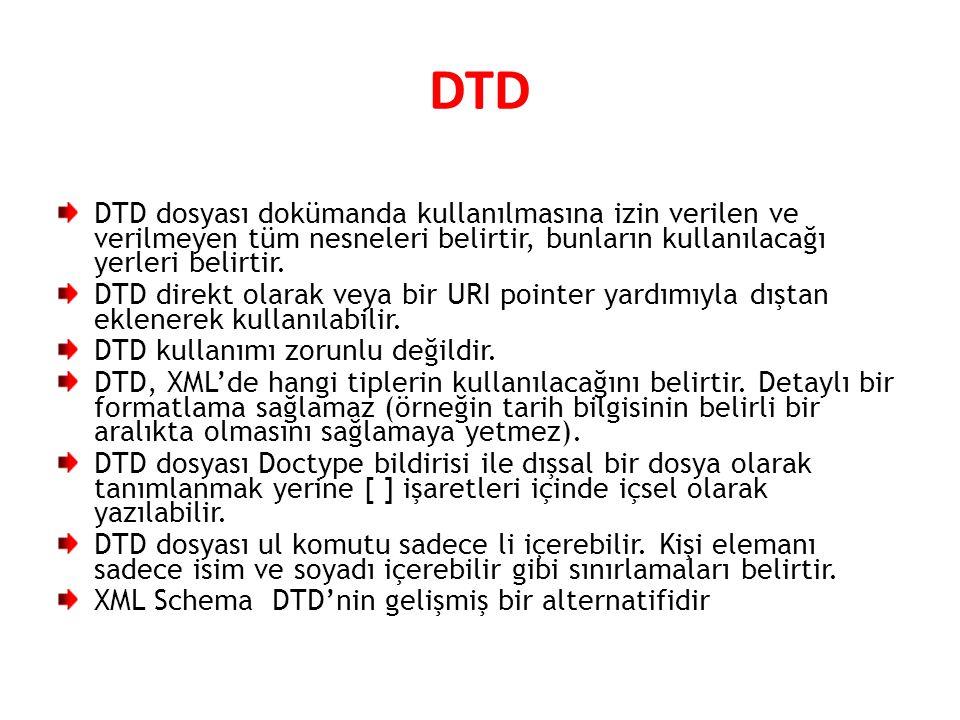 DTD DTD dosyası dokümanda kullanılmasına izin verilen ve verilmeyen tüm nesneleri belirtir, bunların kullanılacağı yerleri belirtir. DTD direkt olarak