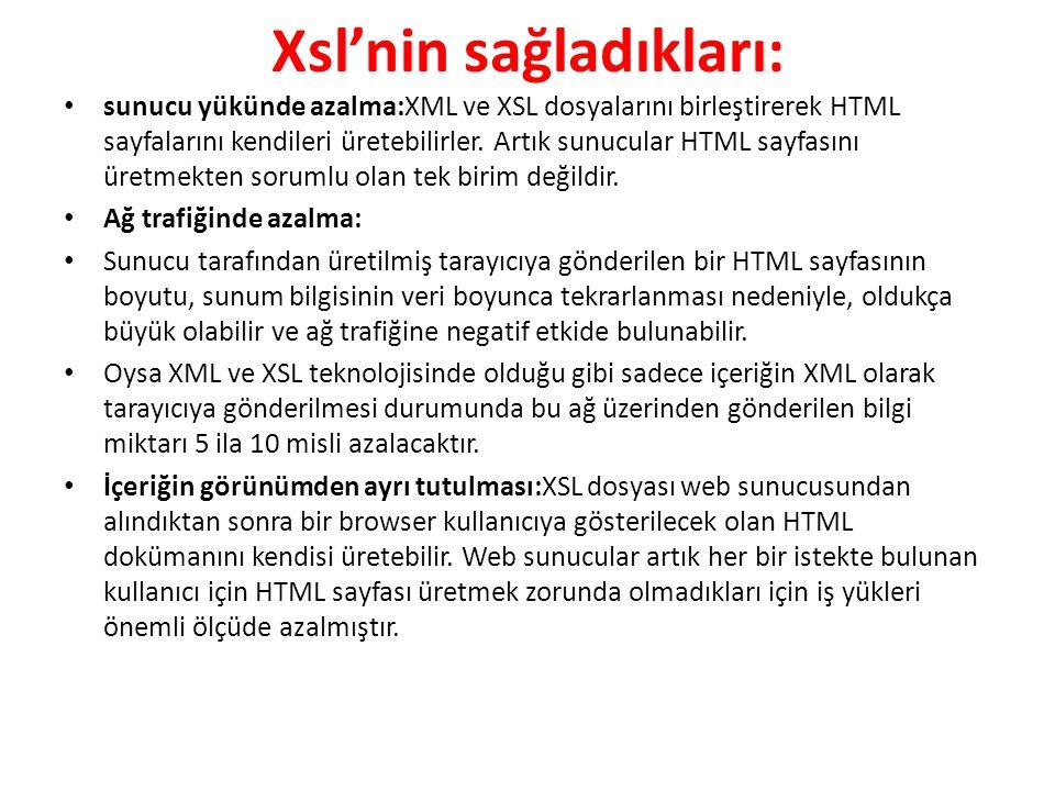 Xsl'nin sağladıkları: sunucu yükünde azalma:XML ve XSL dosyalarını birleştirerek HTML sayfalarını kendileri üretebilirler. Artık sunucular HTML sayfas