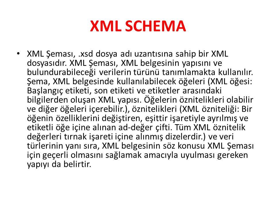 XML SCHEMA XML Şeması,.xsd dosya adı uzantısına sahip bir XML dosyasıdır. XML Şeması, XML belgesinin yapısını ve bulundurabileceği verilerin türünü ta