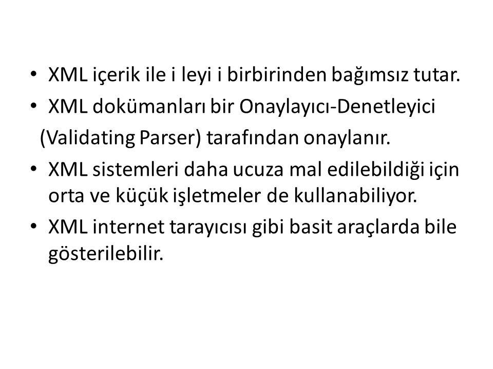 XML içerik ile i leyi i birbirinden bağımsız tutar. XML dokümanları bir Onaylayıcı-Denetleyici (Validating Parser) tarafından onaylanır. XML sistemler