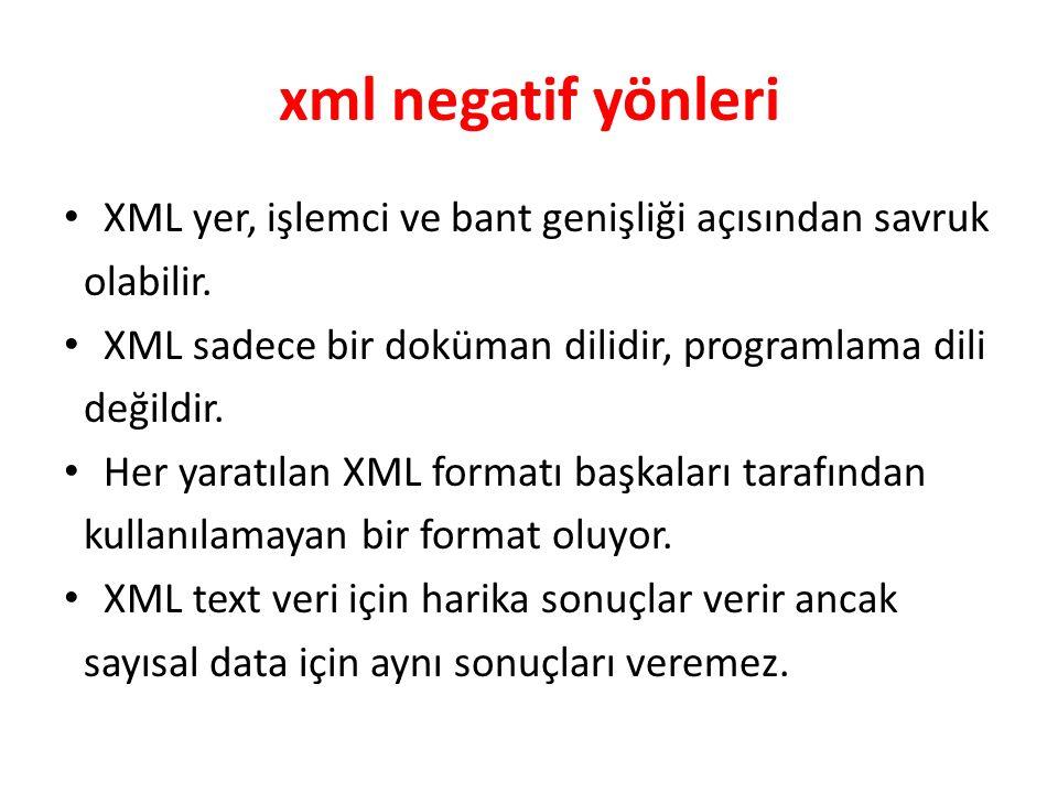 xml negatif yönleri XML yer, işlemci ve bant genişliği açısından savruk olabilir. XML sadece bir doküman dilidir, programlama dili değildir. Her yarat