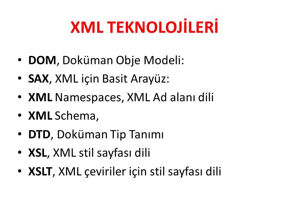 XML TEKNOLOJİLERİ DOM, Doküman Obje Modeli: SAX, XML için Basit Arayüz: XML Namespaces, XML Ad alanı dili XML Schema, DTD, Doküman Tip Tanımı XSL, XML
