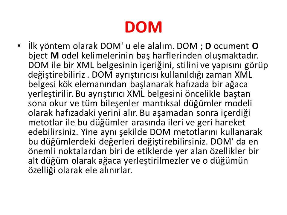 DOM İlk yöntem olarak DOM' u ele alalım. DOM ; D ocument O bject M odel kelimelerinin baş harflerinden oluşmaktadır. DOM ile bir XML belgesinin içeriğ