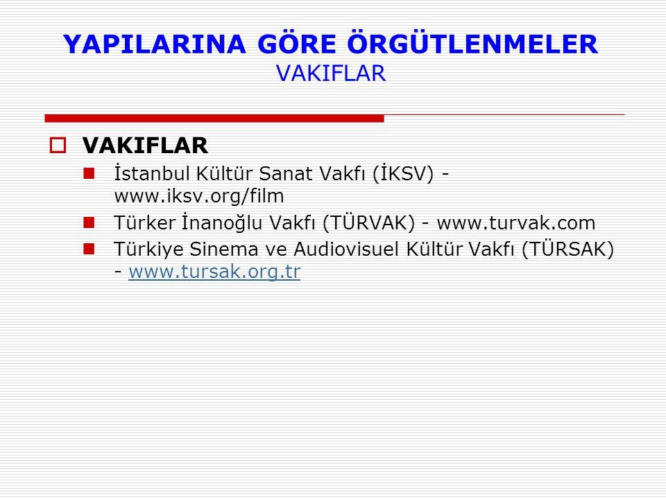  VAKIFLAR İstanbul Kültür Sanat Vakfı (İKSV) - www.iksv.org/film Türker İnanoğlu Vakfı (TÜRVAK) - www.turvak.com Türkiye Sinema ve Audiovisuel Kültür