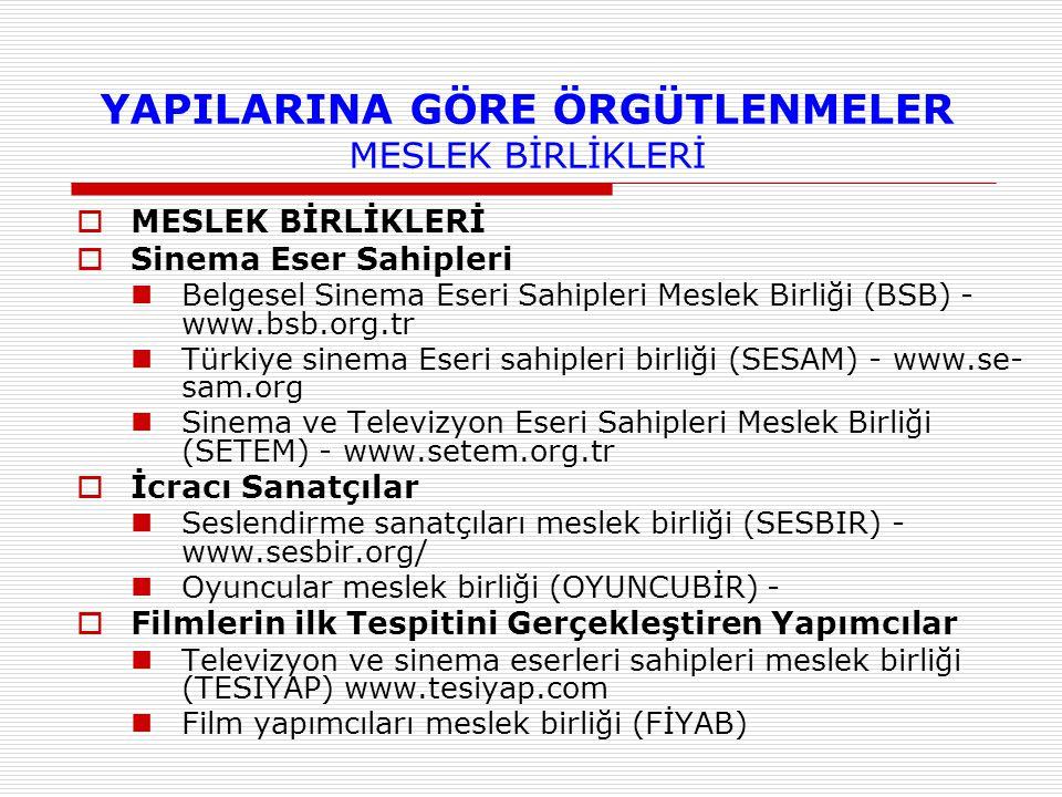 YAPILARINA GÖRE ÖRGÜTLENMELER MESLEK BİRLİKLERİ  MESLEK BİRLİKLERİ  Sinema Eser Sahipleri Belgesel Sinema Eseri Sahipleri Meslek Birliği (BSB) - www
