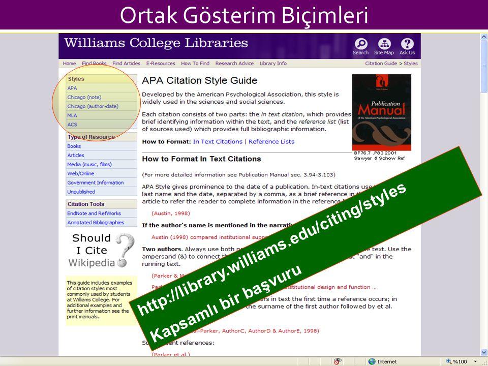 Ortak Gösterim Biçimleri http://library.williams.edu/citing/styles Kapsamlı bir başvuru