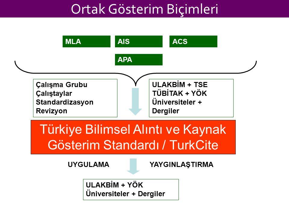 Ortak Gösterim Biçimleri Türkiye Bilimsel Alıntı ve Kaynak Gösterim Standardı / TurkCite APA MLAAISACS Çalışma Grubu Çalıştaylar Standardizasyon Reviz