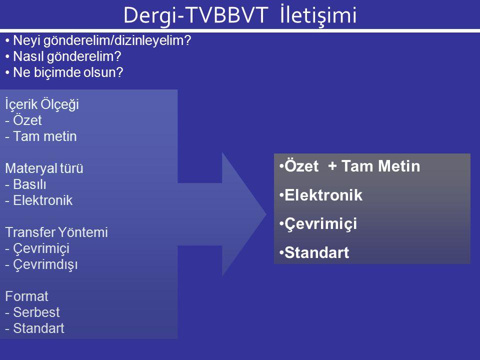 Dergi-TVBBVT İletişimi Neyi gönderelim/dizinleyelim? Nasıl gönderelim? Ne biçimde olsun? İçerik Ölçeği - Özet - Tam metin Materyal türü - Basılı - Ele