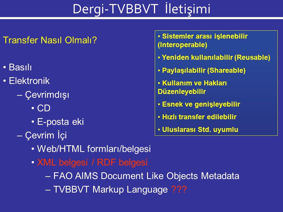 Dergi-TVBBVT İletişimi FAO AgMES Girişimi AgMES elemanları Üstveri tasarımları RDF tasarımları Üstveri tasarımları Document-like resources (Belge benzeri kaynaklar) Events (Etkinlikler) Geospatial (Yersel bilgi) Organization (Kurumsal/Örgütsel bilgi) Person/Expert (Kişi/Uzman) Biodiversity & Genetic Res.