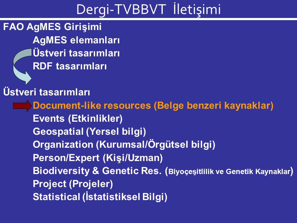 Dergi-TVBBVT İletişimi AgMES : Agricultural Metadata Element Set AgMES, farklı biçimlerde ve türlerde sunulan, yayınlanan tarımsal ve biyolojik bilgi için semantik standartlar geliştiren bir FAO Girişimi'dir.