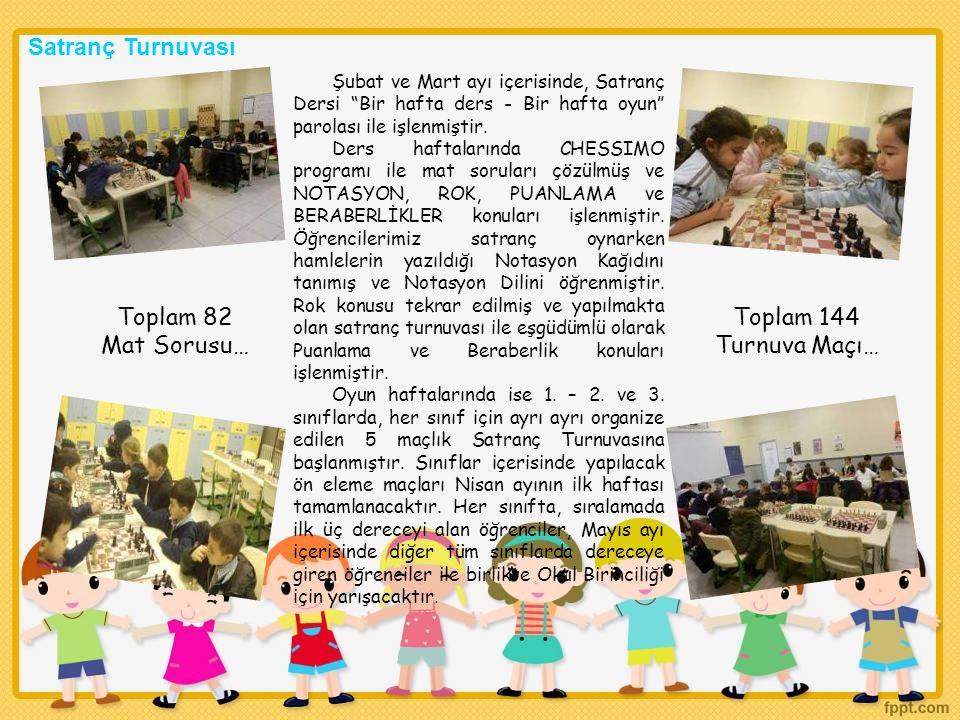 """Şubat ve Mart ayı içerisinde, Satranç Dersi """"Bir hafta ders - Bir hafta oyun"""" parolası ile işlenmiştir. Ders haftalarında CHESSIMO programı ile mat so"""