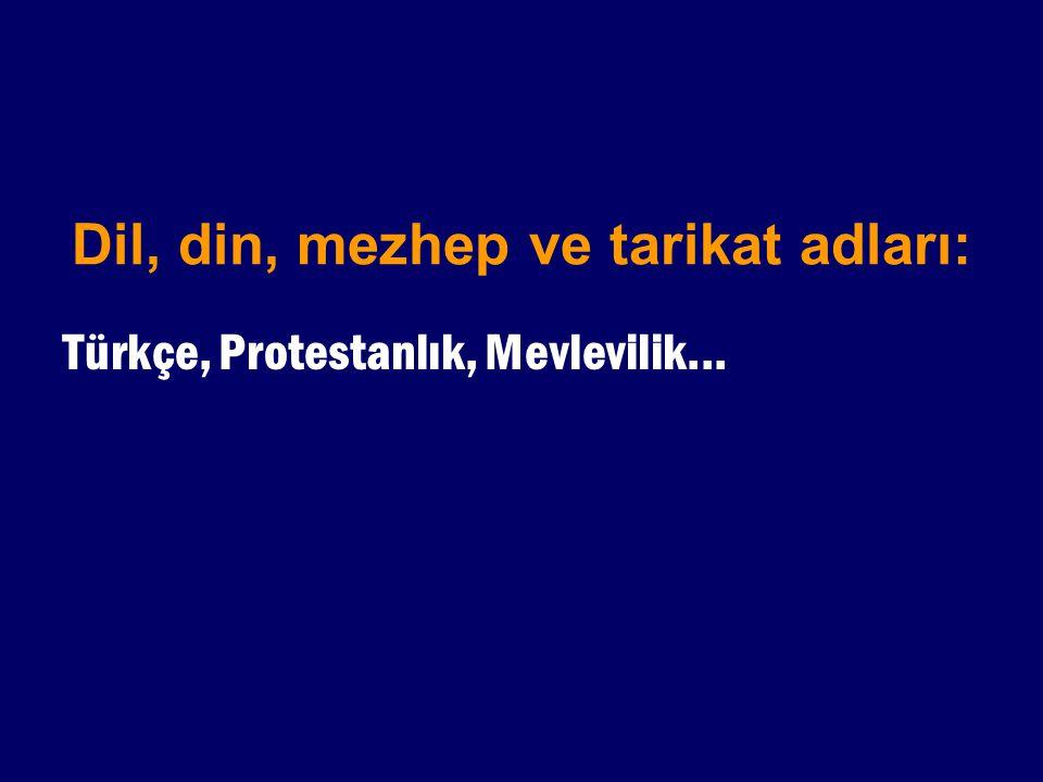 Dil, din, mezhep ve tarikat adları: Türkçe, Protestanlık, Mevlevilik...
