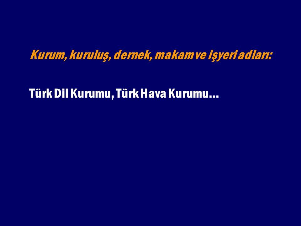 Kurum, kuruluş, dernek, makam ve işyeri adları: Türk Dil Kurumu, Türk Hava Kurumu...