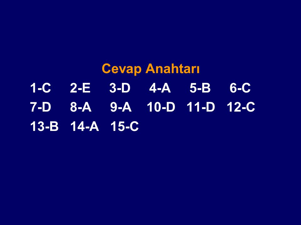 Cevap Anahtarı 1-C 2-E 3-D 4-A 5-B 6-C 7-D 8-A 9-A 10-D 11-D 12-C 13-B 14-A 15-C