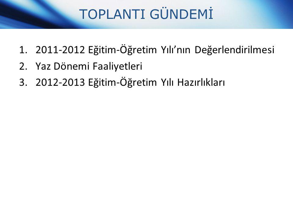 TOPLANTI GÜNDEMİ 1.2011-2012 Eğitim-Öğretim Yılı'nın Değerlendirilmesi 2.Yaz Dönemi Faaliyetleri 3.2012-2013 Eğitim-Öğretim Yılı Hazırlıkları