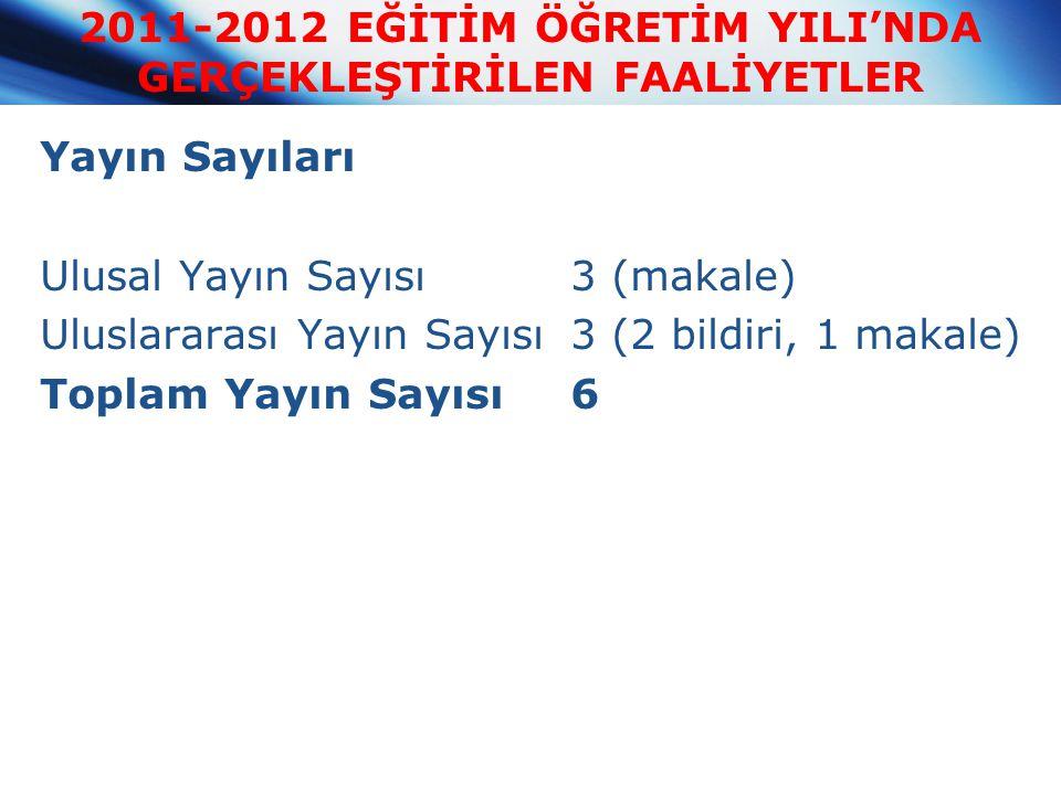 Yayın Sayıları Ulusal Yayın Sayısı3 (makale) Uluslararası Yayın Sayısı3 (2 bildiri, 1 makale) Toplam Yayın Sayısı6 2011-2012 EĞİTİM ÖĞRETİM YILI'NDA G