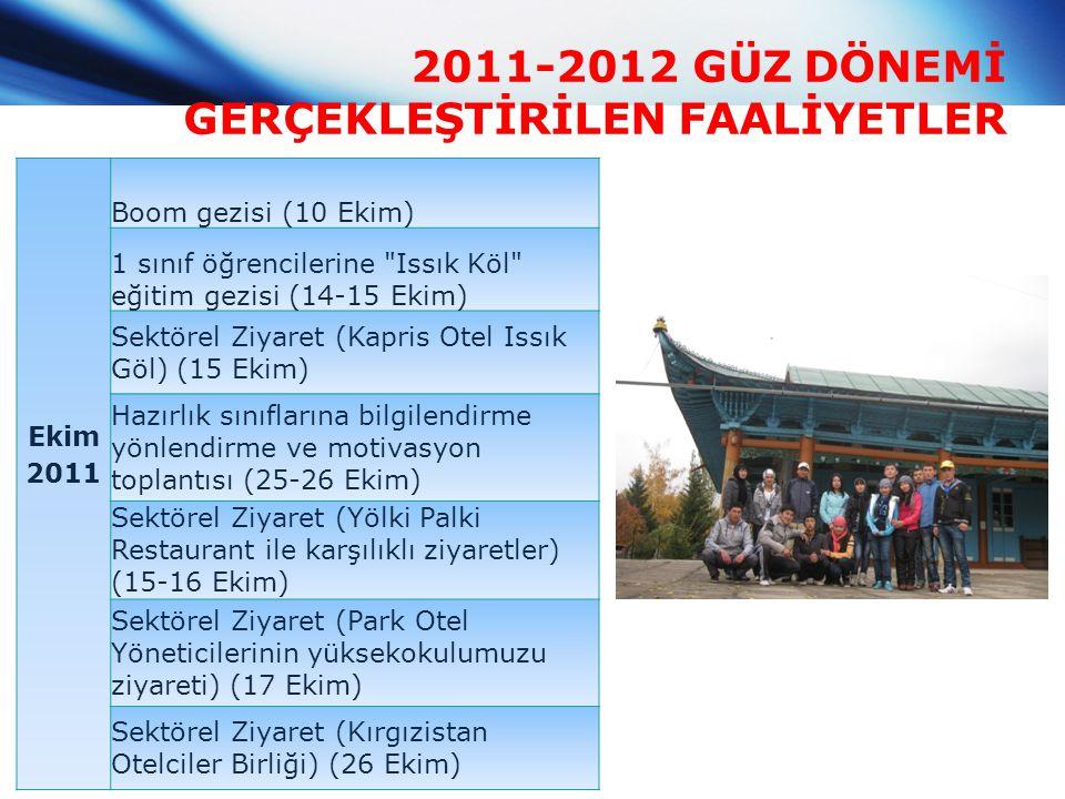 2011-2012 GÜZ DÖNEMİ GERÇEKLEŞTİRİLEN FAALİYETLER Ekim 2011 Boom gezisi (10 Ekim) 1 sınıf öğrencilerine