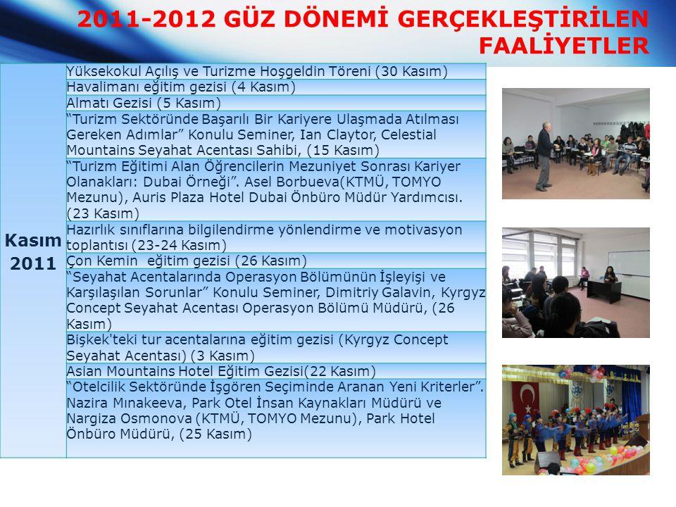 2011-2012 GÜZ DÖNEMİ GERÇEKLEŞTİRİLEN FAALİYETLER Kasım 2011 Yüksekokul Açılış ve Turizme Hoşgeldin Töreni (30 Kasım) Havalimanı eğitim gezisi (4 Kası