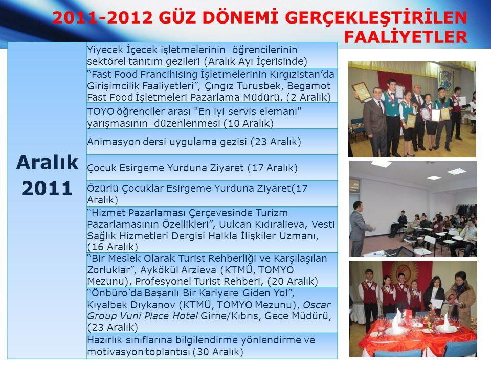 2011-2012 GÜZ DÖNEMİ GERÇEKLEŞTİRİLEN FAALİYETLER Aralık 2011 Yiyecek İçecek işletmelerinin öğrencilerinin sektörel tanıtım gezileri (Aralık Ayı İçeri