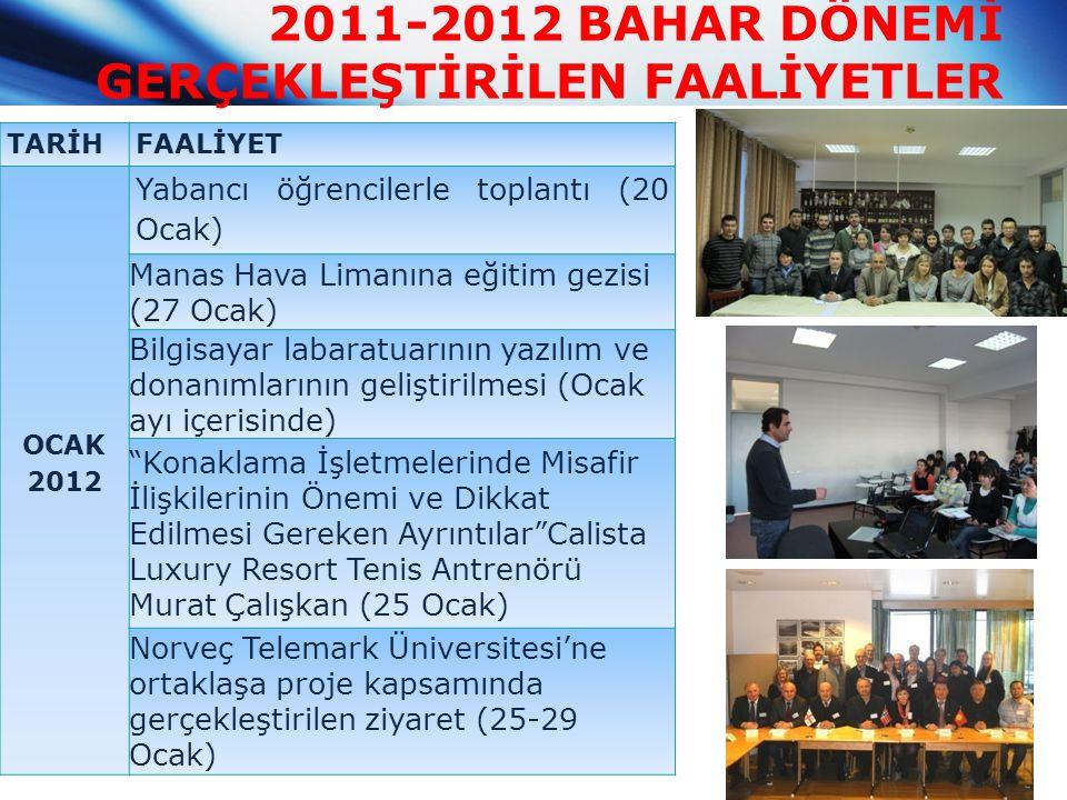 2011-2012 BAHAR DÖNEMİ GERÇEKLEŞTİRİLEN FAALİYETLER TARİHFAALİYET OCAK 2012 Yabancı öğrencilerle toplantı (20 Ocak) Manas Hava Limanına eğitim gezisi