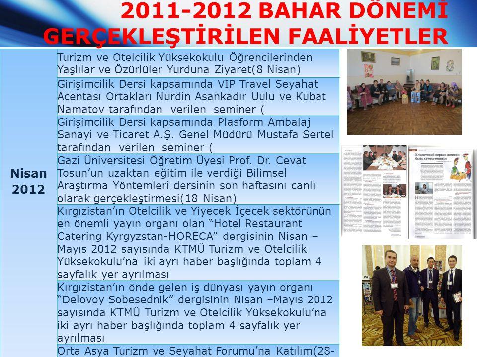 2011-2012 BAHAR DÖNEMİ GERÇEKLEŞTİRİLEN FAALİYETLER Nisan 2012 Turizm ve Otelcilik Yüksekokulu Öğrencilerinden Yaşlılar ve Özürlüler Yurduna Ziyaret(8