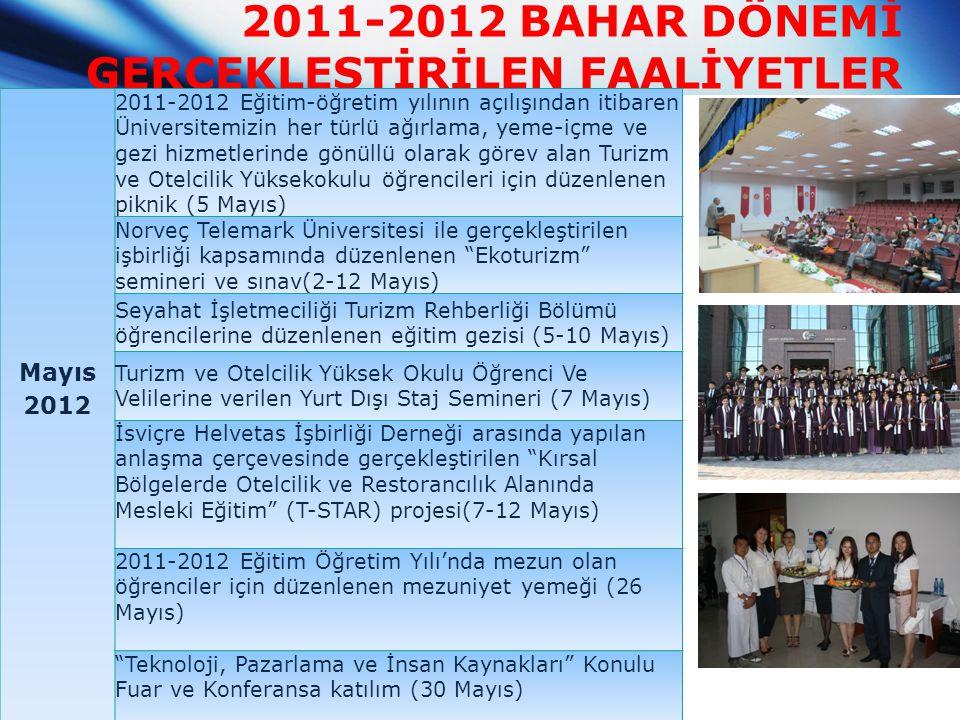2011-2012 BAHAR DÖNEMİ GERÇEKLEŞTİRİLEN FAALİYETLER Mayıs 2012 2011-2012 Eğitim-öğretim yılının açılışından itibaren Üniversitemizin her türlü ağırlam
