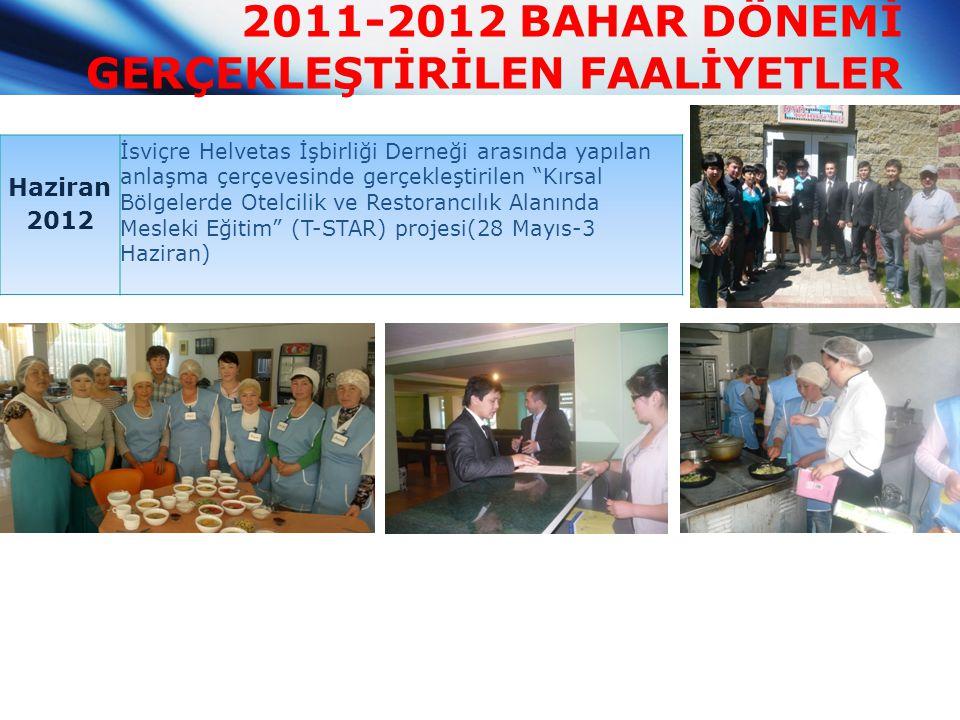 2011-2012 BAHAR DÖNEMİ GERÇEKLEŞTİRİLEN FAALİYETLER Haziran 2012 İsviçre Helvetas İşbirliği Derneği arasında yapılan anlaşma çerçevesinde gerçekleştir