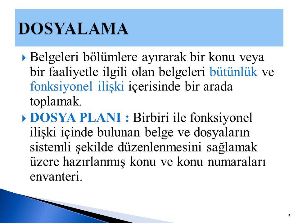  BELGE YÖNETİMİ VE ARŞİV HİZMETLERİ BİRİMİ  EBYS'DE Dosya Plan İşlemlerinde 2.