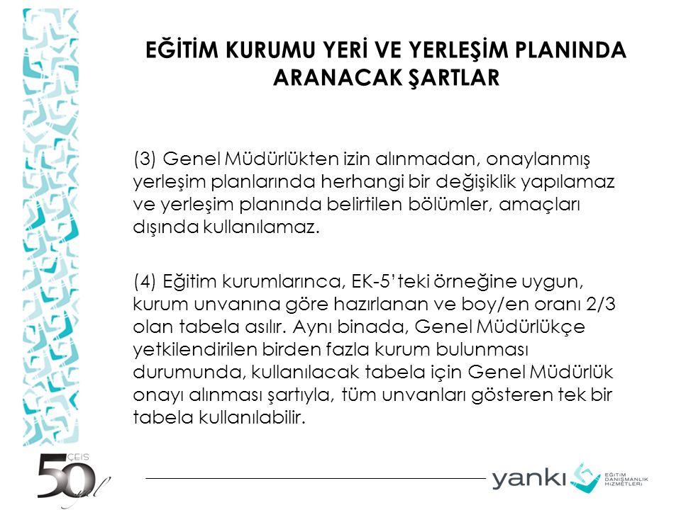 EĞİTİM KURUMU YERİ VE YERLEŞİM PLANINDA ARANACAK ŞARTLAR (3) Genel Müdürlükten izin alınmadan, onaylanmış yerleşim planlarında herhangi bir değişiklik
